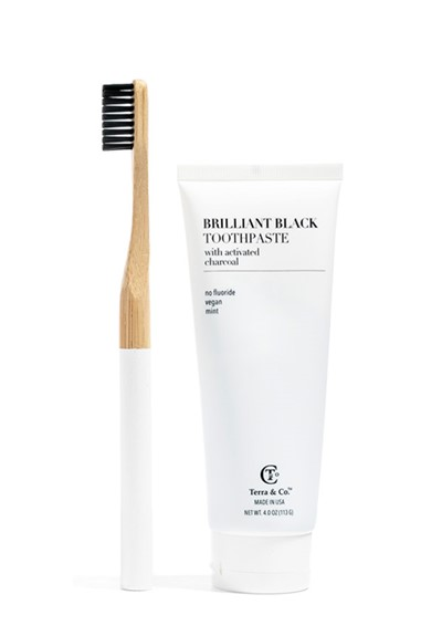 Brilliant Black Toothpaste & Toothbrush Set  Travel Set  by Terra & Co.