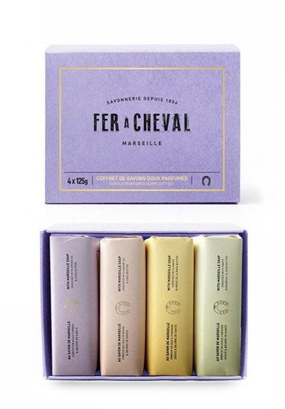 Set of 4 Bar Soaps in Gift Box Boxed Set of Bar Soap  by Fer a Cheval